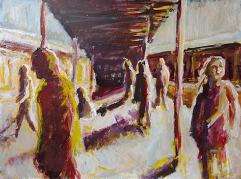 cate riley art - Figures in Public Study