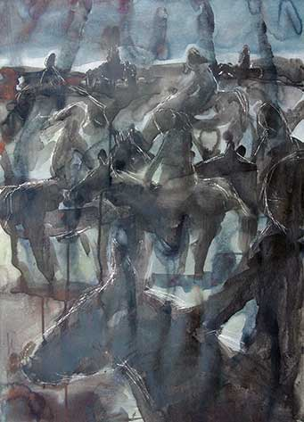 cate riley art - Girls on Horses Colour Study